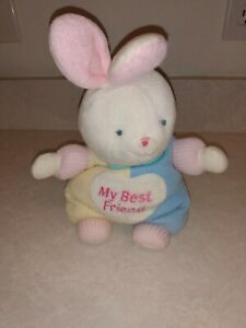 """Carter's Thermal Bunny """"My Best Friend"""" Waffle Weave Pastel Plush Rattle, Rare"""
