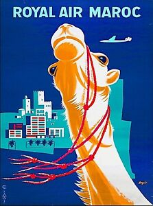 Royal Air Maroc Morocco Africa Vintage Airline Travel Wall Decor Poster Print