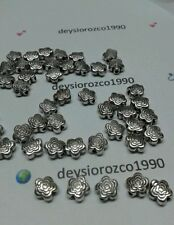 50pc Tibetan Silver Charm Flower Spacer Beads Accessories Jewelry Making Finding