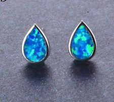 Unusual 925 Sterling Silver Tear Drop Blue Fire Opal Stud Earrings