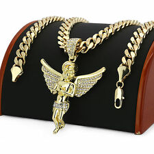 """Men 14k Gold Plated Big Hip Hop Angel Iced Out CZ Pendant 30"""" Cuban Link Chain"""