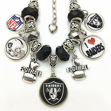 NFL Oakland Raiders Football Logo Charms Crystal Bead Bracelet Christmas Gift