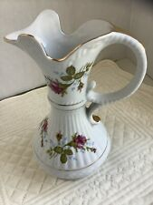 Vintage Pitcher By Chodziez From Poland Roses With Gold Trim On Handle And Base