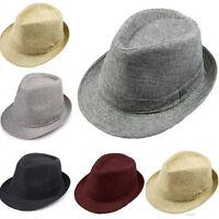 Hot Men Women Summer Beach Trilby Fedora Straw Panama Gangster Cap Sun Jazz Hat