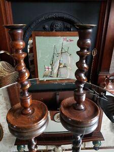 Antique English Barley Twist Oak Candlesticks Candle Holders Brass Tops