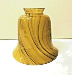 """2.25"""" Fitter Frosted Brown Amber Swirl Alabaster 81239 NEW Fan Glass Glassware"""