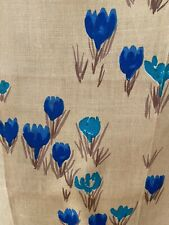 New listing  Vera Neumann Vintage Turquoise/2 Shades of Blue Tulips Tan Tea Towel-Unused