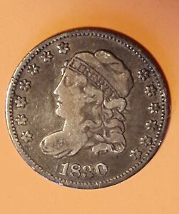 1830 Capped Bust Half Dime 5C. VF+? No Reserve!
