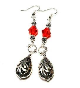 Long Red Silver Earrings Glass Pierced or Non-Pierced Vintage Chic Gypsy Boho