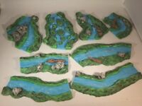 8x painted Rivers for wargames scenery. terrain buildings, 40k warhammer.