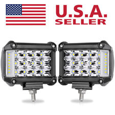 "2x LED Cube Work Light Pods Tri-Row 4"" 228W Fog Driving Lamp Side Shooter Combo"