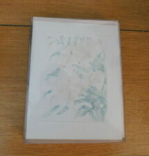 New Vintage In Sealed Pkg.10 Blank Cards & Env-Faint pink flowers w/green stems