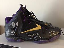 NIKE LEBRON XI BLACK HISTORY MONTH EDITION 9 ANTHRACITE GOLD PURPLE #646702-001