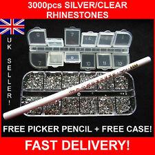 3000pcs 1.5-2.0mm  SILVER/CLEAR RHINESTONES GEMS CRYSTAL FREE PICKER PENCIL CASE
