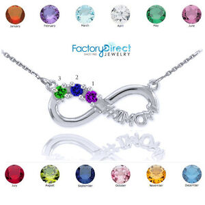 Sterling Silver Infinity #1 MOM Necklace 3 CZ Birthstones Variations Your Choice