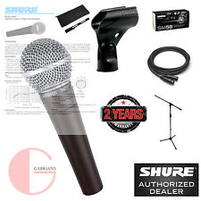 Shure SM58 Cardioid Vocal Mic w/ 20ft  XLR Cable and a Microphone Stand.
