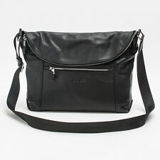 Prima Mela Black Genuine Leather Shoulder Bag Messenger Satchel