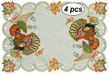 Creative Linens Fall Thanksgiving Turkey Placemats Table Cloth Runner Ivory