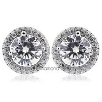 1.47CT Total H-SI2 Round Cut Natural Certified Diamonds 18K Gold Halo Earrings