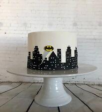 Batman Cake edible skyline shilouette cake wrap gotham city Cake batman signal