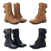 Womens Low Heel Flat Lace Up Zip Combat Biker Military Ankle Boots Tan Black Hot