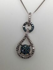 New 10K White Gold Whiteand Blue  Diamond Cluster Pendant with Chain 0.20ct twt