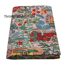 Indian Vintage Handmade Kantha Blanket Throw Queen Size Bedspread Cotton Quilt