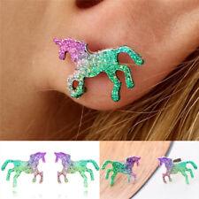 Colorful Unicorn Horse Stud Earring for Women Cute Shining Animal Earrings