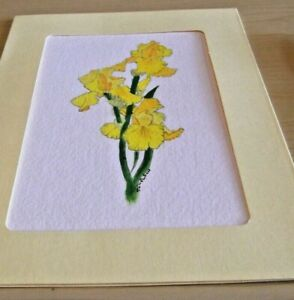CARD & GIFT IN ONE - HAND PAINTED  - YELLOW IRIS'S - WITH ENVELOPE