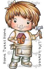 BUILDING BIRDHOUSE LUKA-La-La Land Crafts Cling Rubber Stamp-Stamping Craft