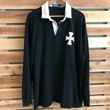 Rare VTG 90s Black Polo Ralph Lauren Cross Viscose Cotton L/S Rubgy Shirt XL