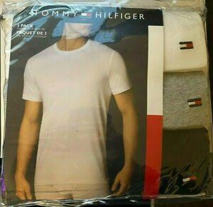 Tommy Hilfiger ~ Men's 3-Pack T-Shirts V-Neck Undershirts Black Gray White