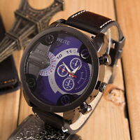 Fashion Mens Sports Watch Stainless Steel Quartz Analog Leather Band Wrist Watch