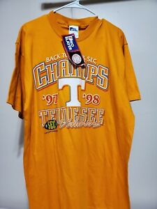 """University of Tennessee Volunteers""""Back To Back"""" 97 98 SEC champions L T Shirt"""