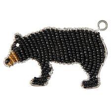 BEADWORX - BLACK BEAR KEYRING - BEAD WORK GRASS ROOTS GLASS BEADS