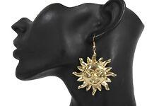 Smiling Happy Sun Fashion Jewelry Sunset Women Earrings Set Gold Metal Sunrise