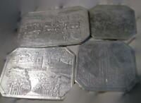 4 Vtg Embossed Foil Trivets Antique Scenes and Florida Souvenirs Kitchen Accents