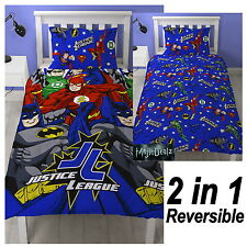 JUSTICE LEAGUE INCEPTION SINGLE DUVET COVER SET ROTARY KIDS CHILDRENS BEDDING