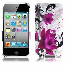 For Apple iPod Touch 4 HARD Protector Case Snap on Cover White Purple Flowers