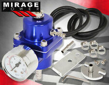 Jdm Universal Blue Fuel Pressure Regulator With Gauge 0-140 Psi Adjustable