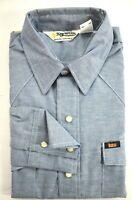 Vintage NOS Key Imperial Mens Blue Long Sleeve Pearl Snap Wester Shirt 16 Short