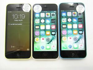 Lot of 3 Apple iPhone 5c A1532 Unlocked 8GB Check IMEI Poor Condition AD-543