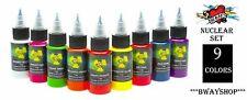 MOMS Tattoo Nuclear Ultra Violet UV Blacklight Ink Set of 9 Colors Bottle 1/2 oz