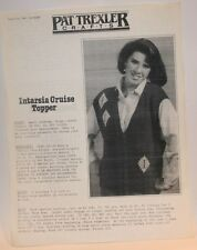 Pat trexler Knitting pattern V Neck Leaflet z-0209 Intarsia Cruise Topper 1985