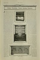 1903 PRINT ARTISTIC FURNISHING ENGLISH JACOBEAN FURNITURE OAK DRESSER COFFER