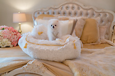 NEW! Luxury Enchanted Pets White & Gold Car Seat Dog Cat Portable Bed & Car Seat