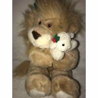 "The Lion and The Lamb Stuffed Animal Christmas 14"" Plush Festive Holidays Holly"