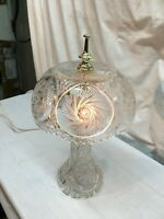 Vintage Cut Crystal Pinwheel Star of David Boudoir Lamp Electric Working