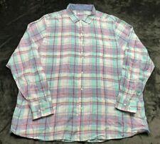 Men's Tommy Bahama Long Sleeve Button Down Shirt Size XXL Plaid Blue