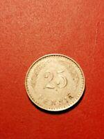 Finland 25 penni 1934 -Nickel  *condition good *RARE